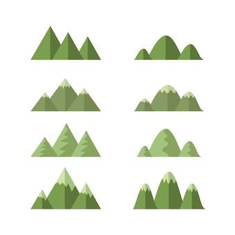 Conjunto de montanhas, vetor de desenhos animados