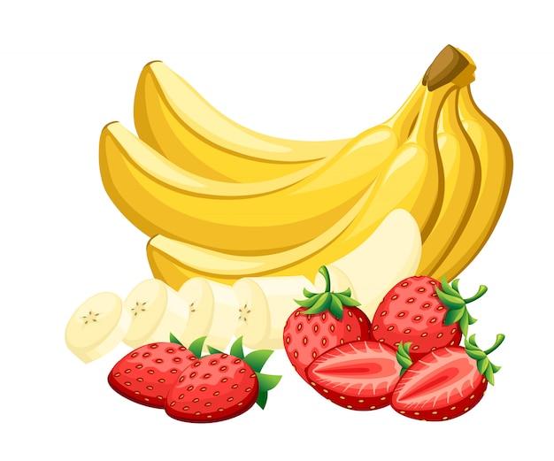 Conjunto de morango fresco e bananas cortados em pedaços com ilustração de frutas brilhantes de desenhos animados de diferentes partes na página do site e no aplicativo móvel de fundo branco