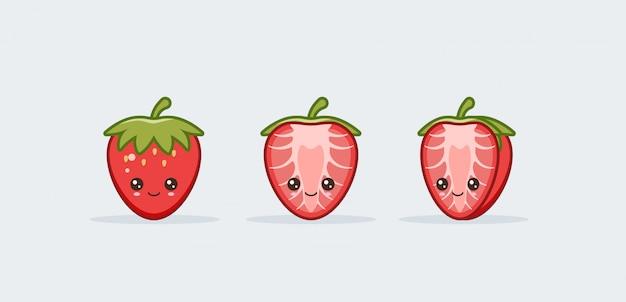 Conjunto de morango. kawaii fofo sorrindo comida.