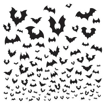 Conjunto de morcego de halloween a voar