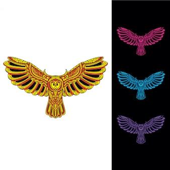 Conjunto de mosaico de coruja brilho no escuro