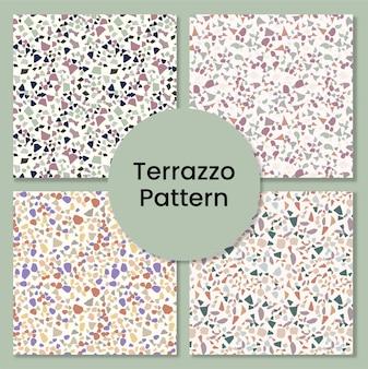 Conjunto de mosaico de mármore e piso terrazzo