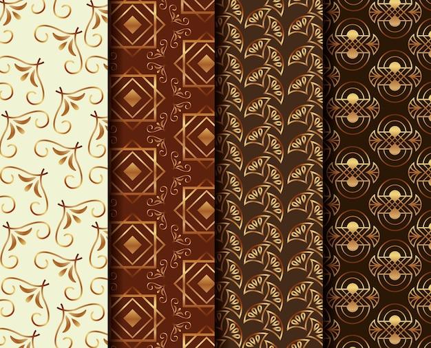 Conjunto de motivos geométricos abstratos art deco de banners
