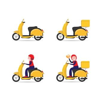 Conjunto de moto e entregador feliz andando de scooter enviando pacote. vetor de estilo simples