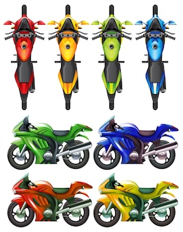 Conjunto de moto em várias cores ilustração