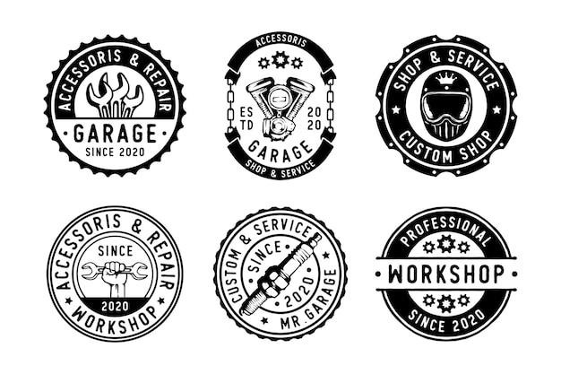 Conjunto de motocicleta de garagem vintage, peça e acessórios