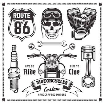 Conjunto de motocicleta e atributos de motociclistas