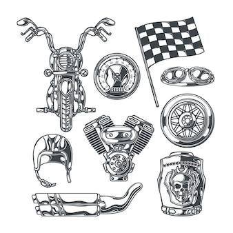 Conjunto de motoclube com imagens monocromáticas isoladas de peças de motocicleta, rodas, acessórios de motociclistas e bandeira de corrida de acabamento