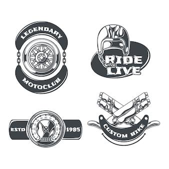 Conjunto de motoclube de emblemas monocromáticos isolados com texto editável e imagens de rodas dentadas e capacete