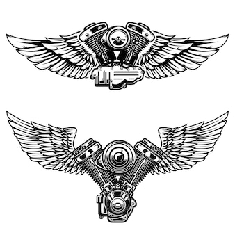 Conjunto de motor de moto alado. elementos para cartaz, emblema, sinal, logotipo, etiqueta, emblema. ilustração