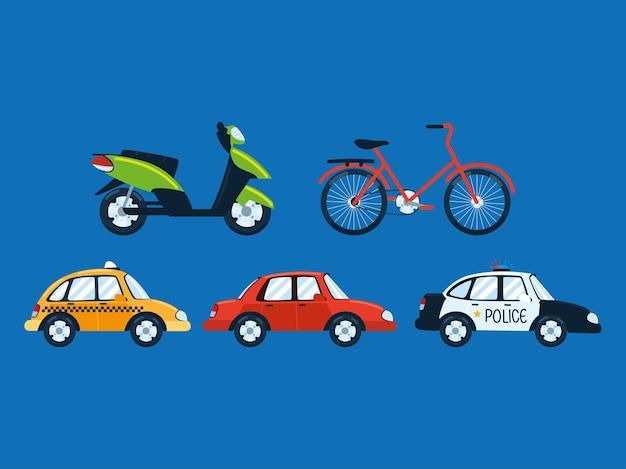 Conjunto de motos e motos de transporte urbano