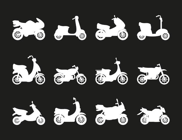 Conjunto de motos silhueta