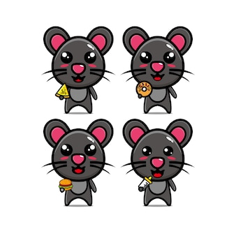 Conjunto de mouse de coleta segurando comida mascote de personagem de desenho animado de ilustração vetorial