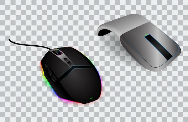 Conjunto de mouse de computador realista ou mouse com tecnologia ótica de rolagem e clique ou dispositivo de mouse