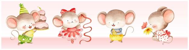 Conjunto de mouse fofo aquarela