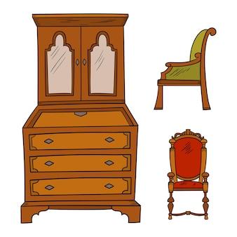 Conjunto de móveis antigos - armário e cadeiras isoladas em um branco
