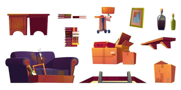 Conjunto de móveis antigos