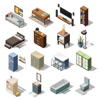 Conjunto de móveis de apartamento isométrico