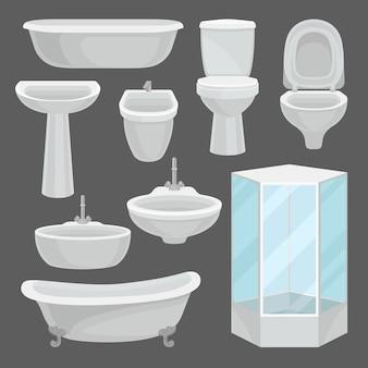 Conjunto de móveis de banheiro, elementos interiores e equipamentos de lavatório, como banheira, cabine de chuveiro, vaso sanitário, pia, bidê