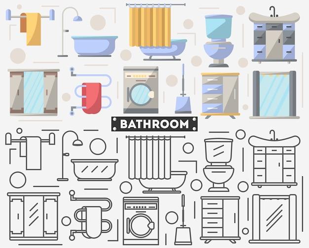 Conjunto de móveis de banheiro em estilo simples