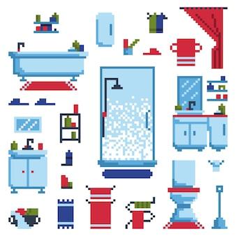 Conjunto de móveis de banheiro isolado no fundo branco. ilustração vetorial no estilo pixel art.