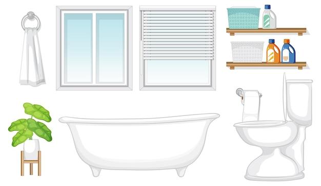 Conjunto de móveis de banheiro para design de interiores em fundo branco