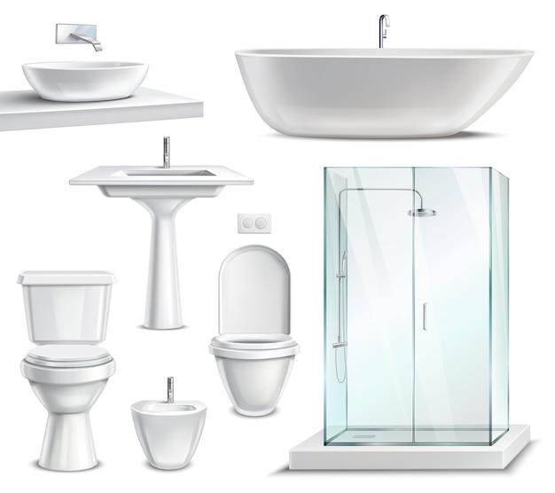 Conjunto de móveis de banheiro realista