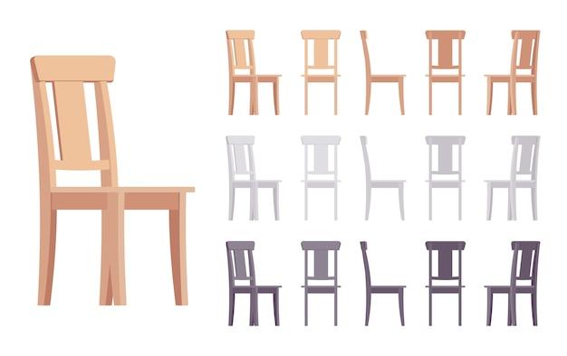 Conjunto de móveis de cadeira de madeira