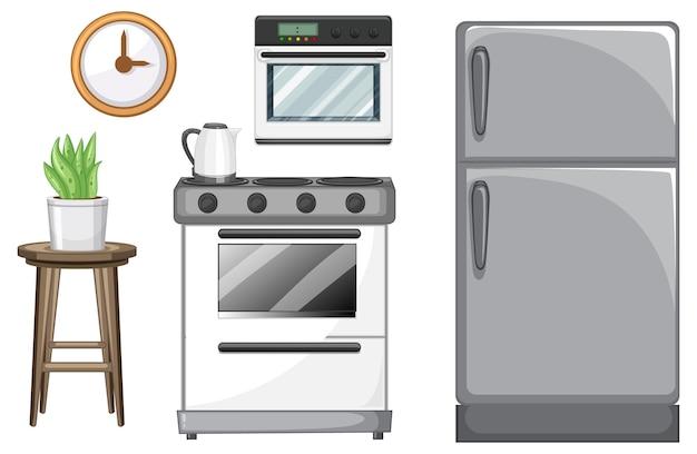 Conjunto de móveis de cozinha para design de interiores em fundo branco