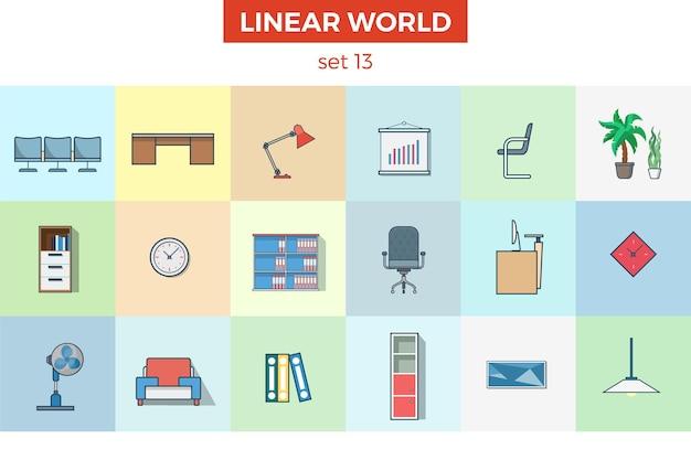 Conjunto de móveis de escritório plano linear interior da sala