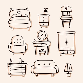Conjunto de móveis de ícone. sorteio de mão