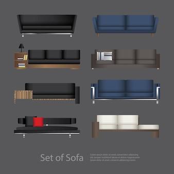 Conjunto de móveis de ilustração vetorial de sofá