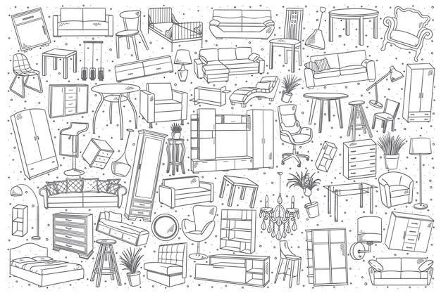 Conjunto de móveis de mão desenhada