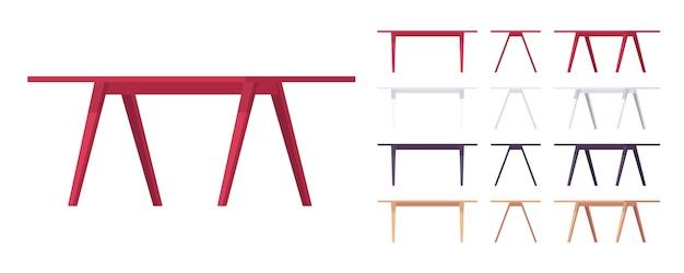Conjunto de móveis de mesa de madeira
