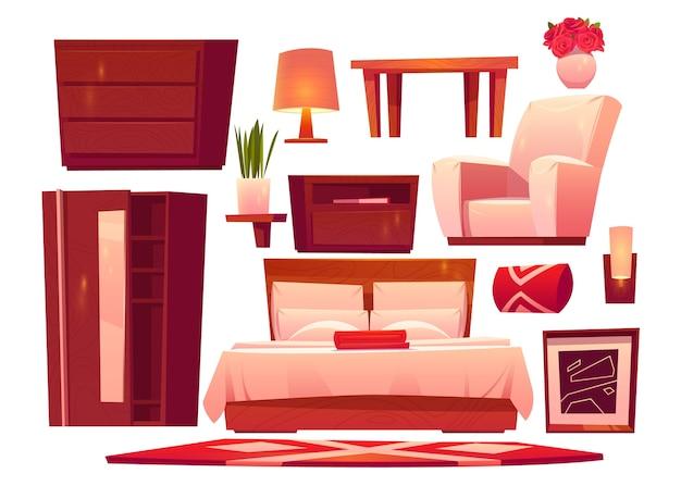 Conjunto de móveis de quarto de hotel plano
