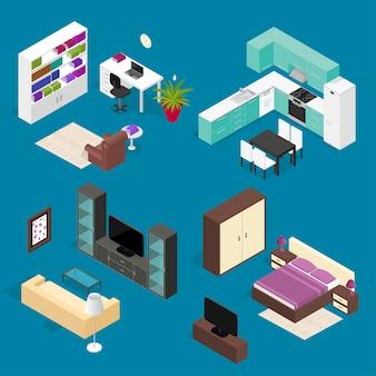 Conjunto de móveis de quarto para vista isométrica de casa e escritório.
