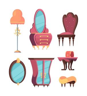 Conjunto de móveis de quarto retrô