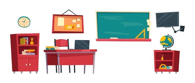 Conjunto de móveis de sala de aula de desenho animado. interior da turma escolar.