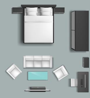 Conjunto de móveis de sala de estar e quarto para casa