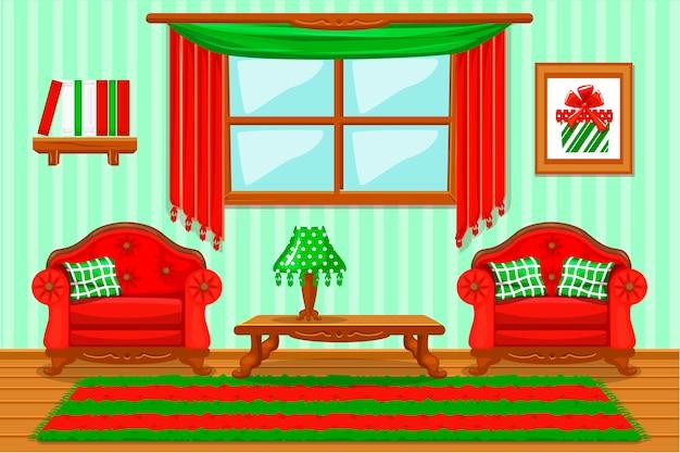 Conjunto de móveis de vermelho e verde almofadado dos desenhos animados, sala de estar