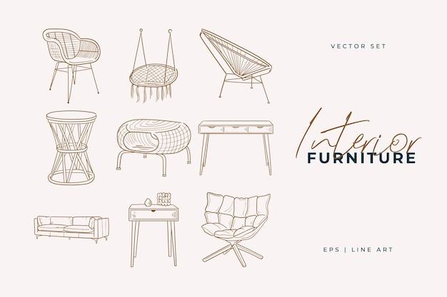 Conjunto de móveis. desenho de linha de arte para decoração de casa