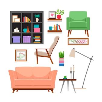 Conjunto de móveis e acessórios para casa.