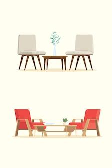 Conjunto de móveis e interior isolado fundo.