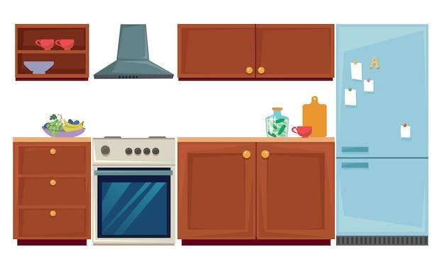 Conjunto de móveis e utensílios de cozinha armários de parede, geladeira e forno ilustração vetorial