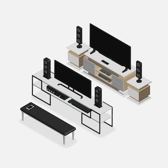 Conjunto de móveis isométricos 3d realistas