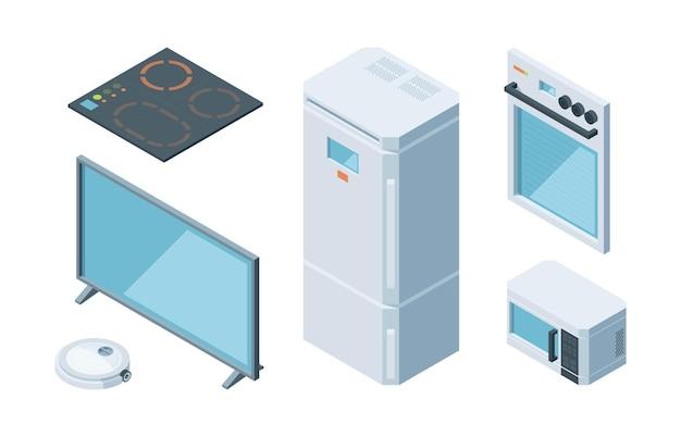 Conjunto de móveis isométricos de cozinha. duas câmaras moderna geladeira branca microondas tv plasma forno elétrico aspirador programável.