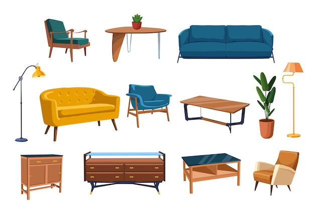 Conjunto de móveis para casa.