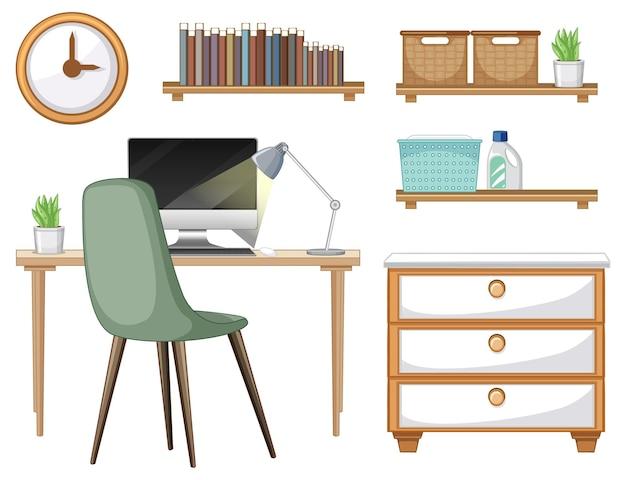 Conjunto de móveis para design de interiores de espaço de trabalho em fundo branco
