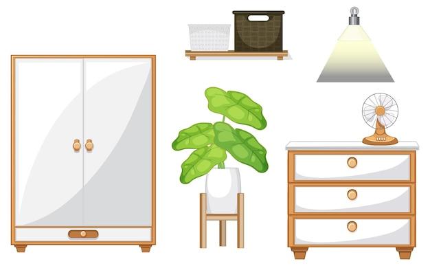 Conjunto de móveis para design de interiores em fundo branco