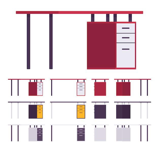 Conjunto de móveis para mesa de trabalho